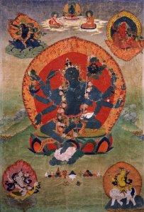 Tibeten_Thanka,_with_the_Green_Tara_(Samaya_Tara_Yogini)_in_the_center_and_the_Blue,_Red,_White_and_Yellow_taras_in_the_corners,_Rubin_Museum_of_Art