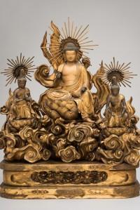 Amida-Buddha-with-Attending-Bodhisattvas-Japan-Edo-period-late-18th-century-Wood-with-gold